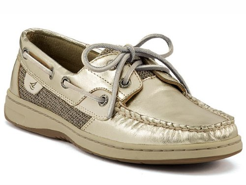 SPERRY TOPSIDER Bluefish Platinum Womens Leather Boat Shoes Size 9.5