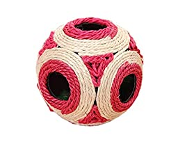 PetsLove Pet Cat Kitten Playing Ball Chew Ratting Cute Toys with Feather Sisal Rope Ball Red