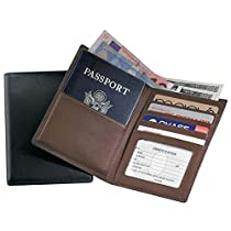 Royce Leather RFID Blocking Passport Currency Wallet Black