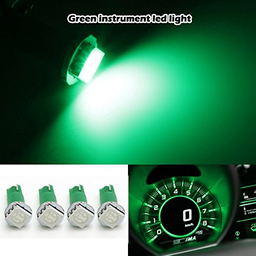 Partsam 4X Led Dashboard Instrument Light Bulbs Smd T5/286 Wedge Green 57 37 73 257 For 2000-2011 Nissan Frontier