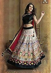 Shree Ganesh Women's Designer Multi-Coloured Silk Semi-Stitched Lahenga Choli [L52BLACK_Multi-Coloured]