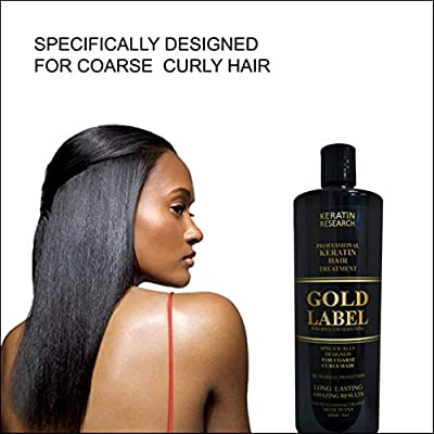 Gold Label Professional Brazilian Keratin Blowout Hair Treatment Super Enhanced Formula Specifically Designed for Coarse, Curly, Black, African, Dominican, and Brazilian Hair Types