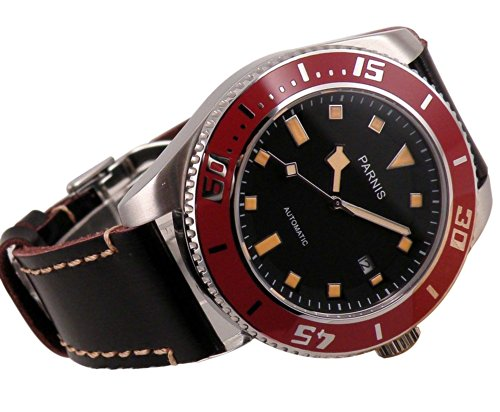 Fanmis Black Dial Sapphire Glass Miyota Black Leather Strap Automatic Mens Womens Wrist Watch Red Bezel
