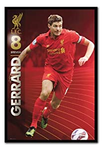 Liverpool FC Steven Gerrard Season 12/13 Poster Magnetic Notice Board Black Framed - 96.5 x 66 cms (Approx 38 x 26 inches) by iPosters
