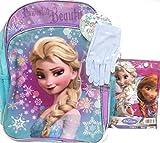 Disney Frozen Elsa Powerful Beauty Large Backpack, Gloves and Rain Coat 3 pcs