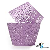 A&S Creavention Vine Cupcake Holders Filigree Vine Designed Decor Wrapper Wraps Cupcake Muffin Paper Holders - 50pcs (Purple) (Color: Purple)