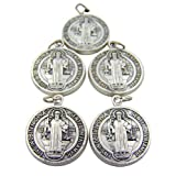 Lot of 5 Silver Toned Base Tone Saint Benedict Protection From Evil Sacremental Devotion 1 Inch Medal