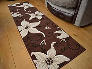 Lily Brown And Cream Floral Design Rug. Available in 5 Sizes (70cm x 240cm (Runner)) from Rugs Supermarket