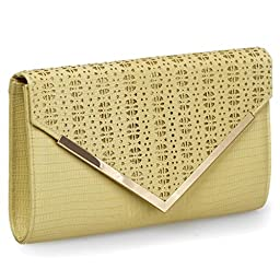 BMC Womens Sandy Tan PU Leather Alligator Skin Pattern Perforated Glitter Metal Accent Envelope Flap Clutch Handbag