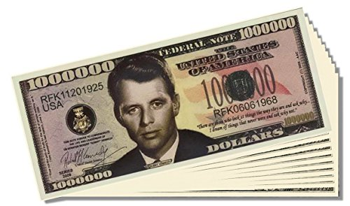 Bobby Kennedy Novelty Million Dollar Bill - 25 Count with Bonus Clear Protector & Novelty Christopher Columbus Bill