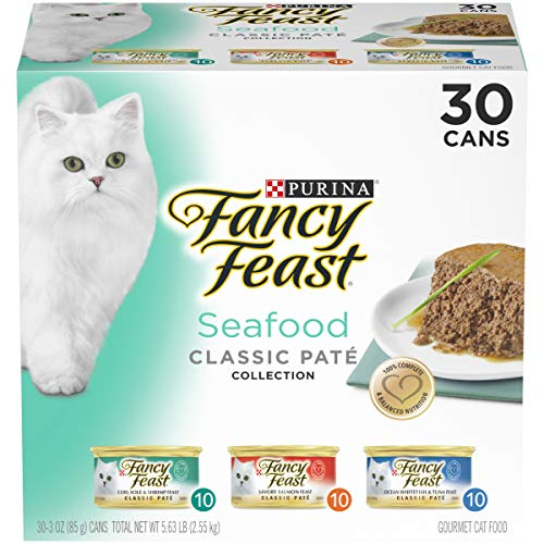 Purina Fancy Feast Grain Free Pate Wet Cat Food Variety Pack; Seafood Classic Pate Collection - (30) 3 oz. Cans