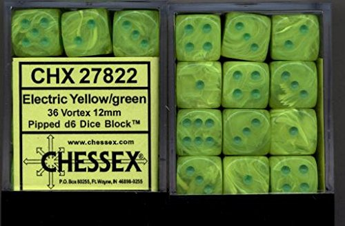 Chessex Dice d6 Sets: Vortex Marble Electric Yellow with Green - 12mm Six Sided Die (36) Block of Dice