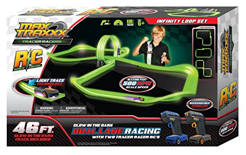 MaxTraxxx Tracer Racers Remote Controlled High Speed Infinity Loop Track Set, 23.8 x 15 x 3.5 -Inch