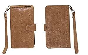 Jo Jo A9 Anya Leather Carry Case Cover Pouch Wallet Case For Lava Mobiles Iris X1 Atom Light Brown