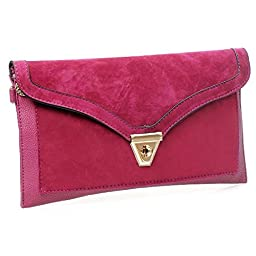 BMC Womens Fuchsia Pink Textured PU Faux Leather Suede Topped Envelope Flap Handbag Fashion Clutch