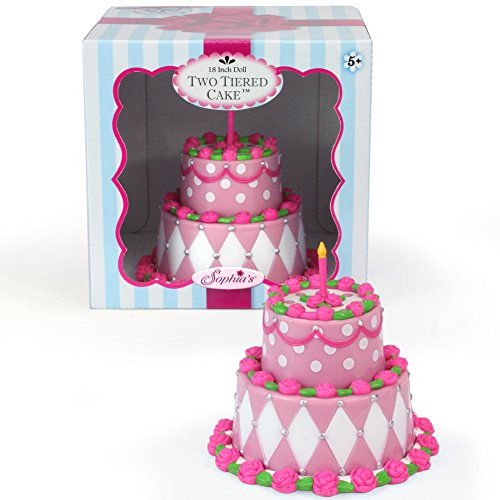 Tiered Doll Cake by Sophia's , Perfect for 18 Inch American Girl Doll Food, Doll Furniture & More! Doll Birthday Cake or Special Celebration Doll Accessories Food Cake