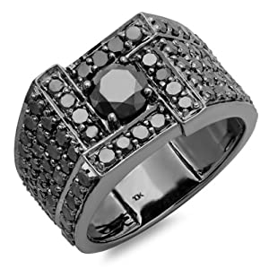 4.50 Carat (ctw) 10k White Gold Round Black Diamond Mens Ring (Size 10)