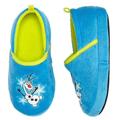 Disney Toddler & Little Boys Frozen Olaf Slippers Blue Loafer Plush House Shoes
