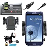 Mobilizers: In Car Charger & Air Vent Mount Holder Cradle Kit With 360° Degree Rotation Feature For All New Models Including Samsung Galaxy 3 Apollo i5800, Galaxy Ace S5830, Galaxy Ace 2, Galaxy Europa i5500, Galaxy S Advance, Galaxy S I9000, Galaxy S2 I