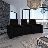 vidaXL Luxus Ledermix Sofa Sessel 3 Sitzer mit Holzstaufach schwarz