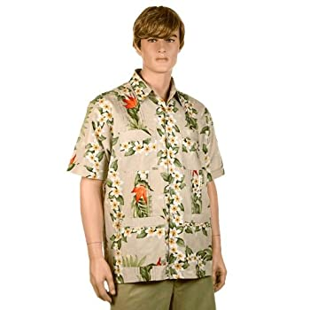 Khaki Bird of Paradise Hawaiiabera Shirt