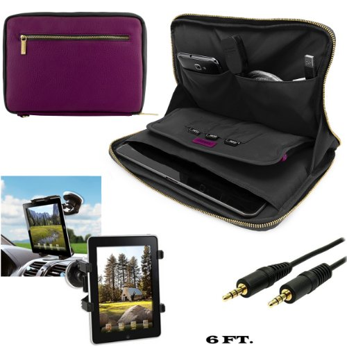 Click to buy Irista Carrying Leather Sleeve (Purple, Black) For Asus MeMo Pad FHD 10, 10 LTE 10.1-inch Tablet + Windshield Car Mount w/ Auxiliary Cable - From only $33.98