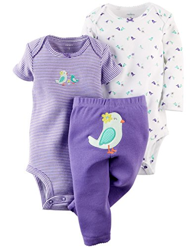 Carter's Baby Girls' 3 Piece Take Me Away Set (Baby) (12 Months, Birds)