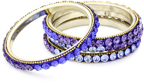 Chamak by priya kakkar 4 Shades Of Blue Ombred Crystallized Bangle Bracelet