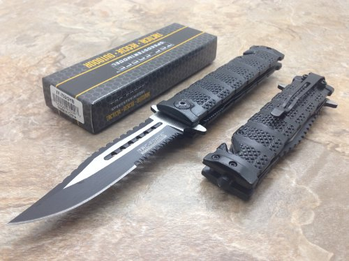 Tac Force Assisted Opening Rescue Tactical Pocket Folding Sawbaw Bowie Knife Outdoor Survival Camping Hunting W/ Glass Breaker - Black