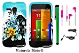 Motorola MOTO G (VERIZON BOOSTMOBILE) Premium Pretty Design Protector Hard Case Cover + Car Charger + 3.5MM Stereo Earphones + 1 of New Metal Stylus Touch Screen Pen (Butterfly Yellow Lily Flower Blue Splash)