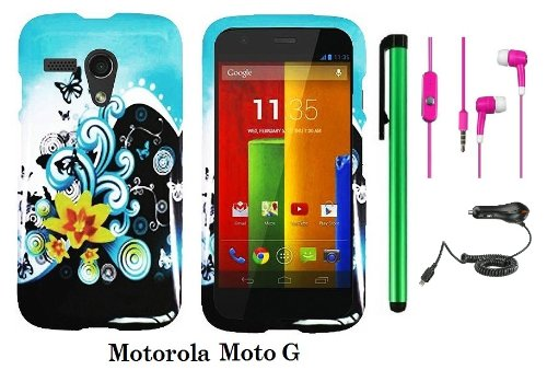 Motorola Moto G (Verizon, Boostmobile) Premium Pretty Design Protector Hard Case Cover + Car Charger + 3.5Mm Stereo Earphones + 1 Of New Metal Stylus Touch Screen Pen (Butterfly Yellow Lily Flower Blue Splash)