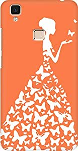 AMEZ designer printed 3d premium high quality back case cover for Vivo V3 Max (orange white girl princess)