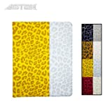 Astak Fashionable Animal (Leopard) Print Folding 360 Degree Rotating Folding Folio Ipad Case Cover Stand, Synthetic Leather with Dual Layer Hard Plastic. Colorful Color Combinations: Pink, Yellow, White, Brown and Grey for Apple Ipad 2/3/4 (Yellow and White)