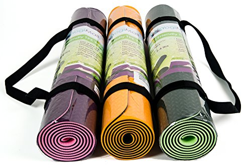 "Eco Friendly Two Layer TPE Premium Yoga Mat with Carry Strap by YogiMall, Free of PVC and Other Toxic Chemicals, Non-Slip, Extra Long 72"",Thick 6mm, Light Weight 2.4 Lbs, Perfect for Yogis On-The-Go!"