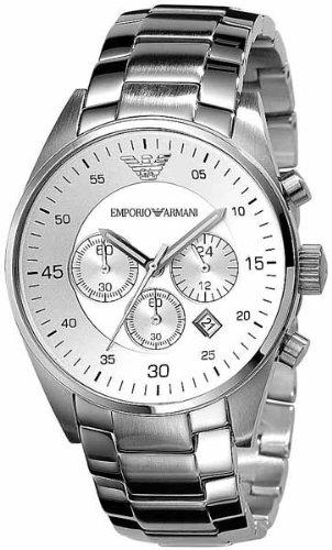 Orologio Emporio Armani Cronografo Uomo acciaio AR5869 quadrante bianco con datario