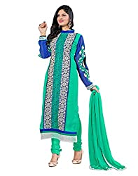 Lookslady Embroidered Turquoise & Blue Georgette Salwar Suit