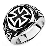 Justeel Men Large 316L Stainless Steel Ring Band Biker Silver Gothic Cross Size P(with Gift Bag) (Width: 0.71