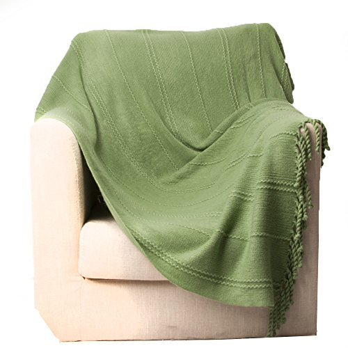 Battilo Inc Cable Knit Woven Luxury Throw Blanket With Tasseled Ends 50