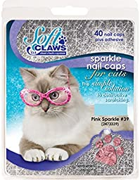 Feline Soft Claw Nail Caps, Small, Pink Sparkle