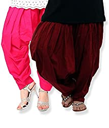 Shiva Collections maroon and pink cotton patiala salwar