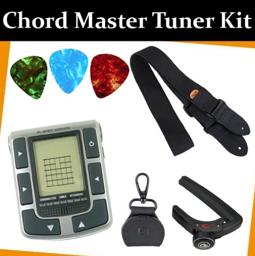 Planet Waves Chordmaster Tuner Metronome with a Protec Guitar Strap and a Leather Pick Holder and a Lite Capo with 3 FREE Guitar Picks