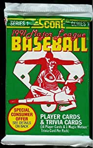 1991 Score Major League Baseball Card Pack - 16 Player Cards Possible Chipper Jones Rookie Card