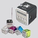 Vingo® Mini Lautsprecher Box MP3 Musik Player FM Radio Aluminium Micro SD Silber mit integriertem, schwarz