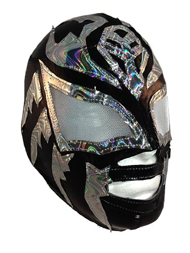SOMBRA JR LYCRA Youth Lucha Libre Wrestling Mask - KIDS Costume Wear - Black/Silver