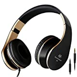 Intone I60 Lightweight Folding 3.5mm Stereo Over-ear Headphones Portable Stretch Headsets Earphones Leather Earpad with Build-in Microphone and Control Button for All Smartphones,laptops,tablets,pc,mp3/mp4,psp,ipod (Black/Gold) (Color: Black/Gold)