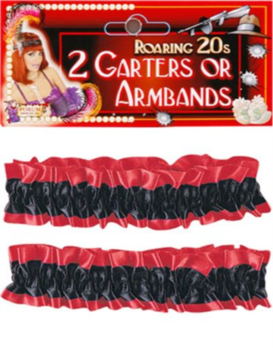 2 Black and Red Flapper Costume Garters or Arm Bands