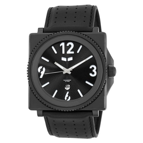 Vestal Men's QDR001 Quadra All Black Case Black Leather Watch