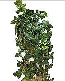 【SCGEHA】フェイクグリーン インテリア イミテーション 人工 観葉植物 壁掛け 癒し 造花 4カラー (ホワイト/2本)