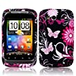 BLACK PINK HTC WILDFIRE S BUTTERFLY FLOWER / FLORAL HYDRO SOFT SOLID TPU SILICONE PRINT GEL SKINS CASE COVER - BY WHOLESALEUK PHONE CASE COVERS AND ACCESSORIES