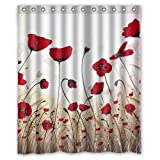 "Yestore Superior Custom Poppy WaterProof Polyester Fabric 60"" x 72"" Shower Curtain"
